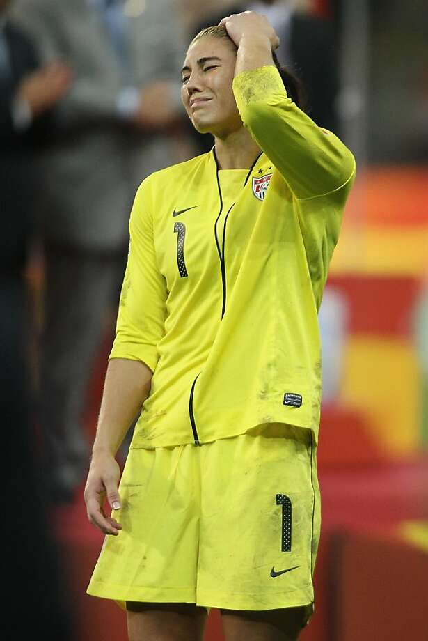 FRANKFURT AM MAIN, GERMANY - JULY 17:  Hope Solo of the USA looks dejected after losing 3-5 after penalty shoot-out the FIFA Women's World Cup Final match between Japan and USA at the FIFA World Cup stadium Frankfurt on July 17, 2011 in Frankfurt am Main,Germany. Photo: Christof Koepsel, Getty Images
