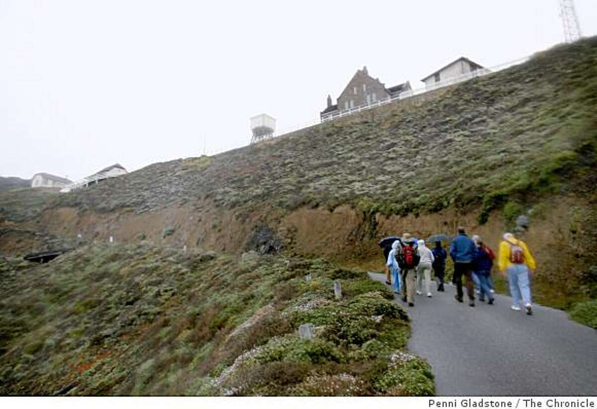 Led by a docent, visitors walk up to Point Sur Lighthouse 3-hour tour on Highway 1, south of Carmel. Event on 5/2/07 in Point Sur.
