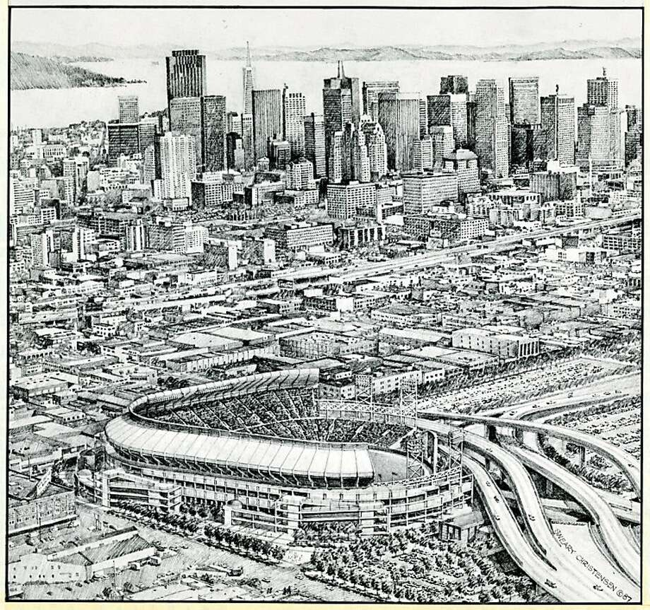 An artists rendition of a possible San Francisco Giants ballpark South of Market. The image is dated Aug. 6, 1987. Photo: Courtesy Image