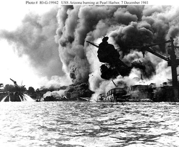 The USS Arizona burns during the bombing of Pearl Harbor, December 7, 1941 in Hawaii. (Photo courtesy of U.S. Navy/Newsmakers) Photo: U.S. Navy, Getty Images / Getty Images North America