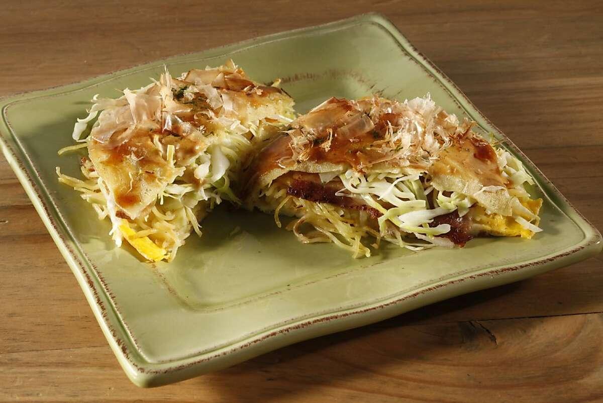 Hiroshima-style okonomiyaki. Food styled by Janny Hu.