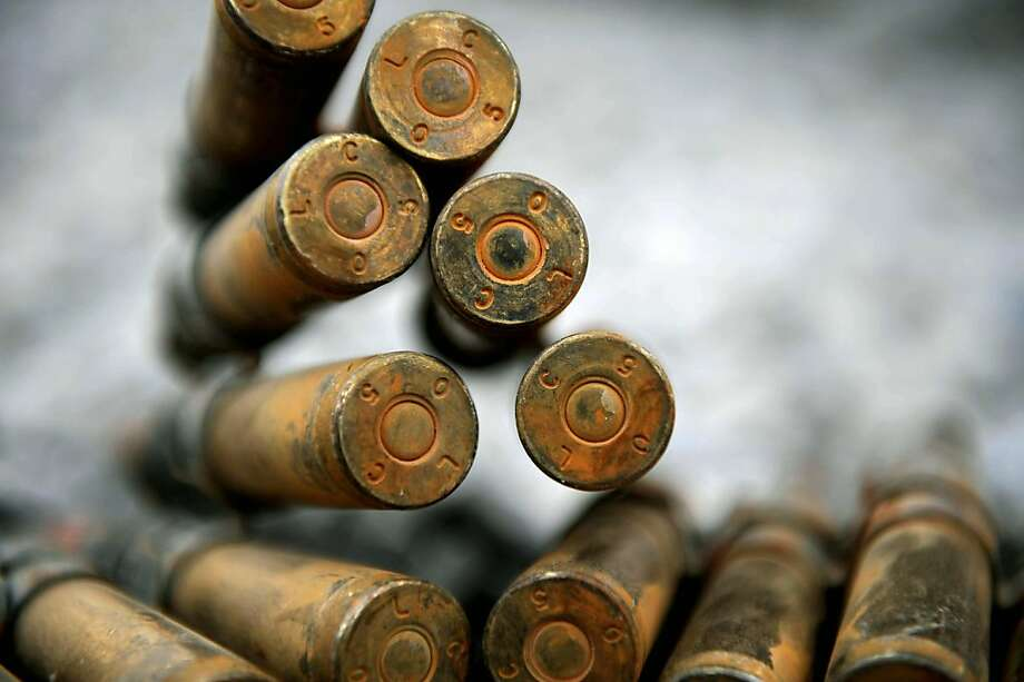 Detail of a 50 cal ammunition bandolier ready for use by US soldiers of the 2nd BTC, 101st ABN Div. (Air Assault)  at the Arghandab Base, province of Kandahar on August 4, 2010. A Taliban suicide squad armed with bombs and rockets attacked the largest USmilitary base in southern Afghanistan, leaving one NATO soldier and two civilians injured. Photo: Yuri Cortez, AFP/Getty Images