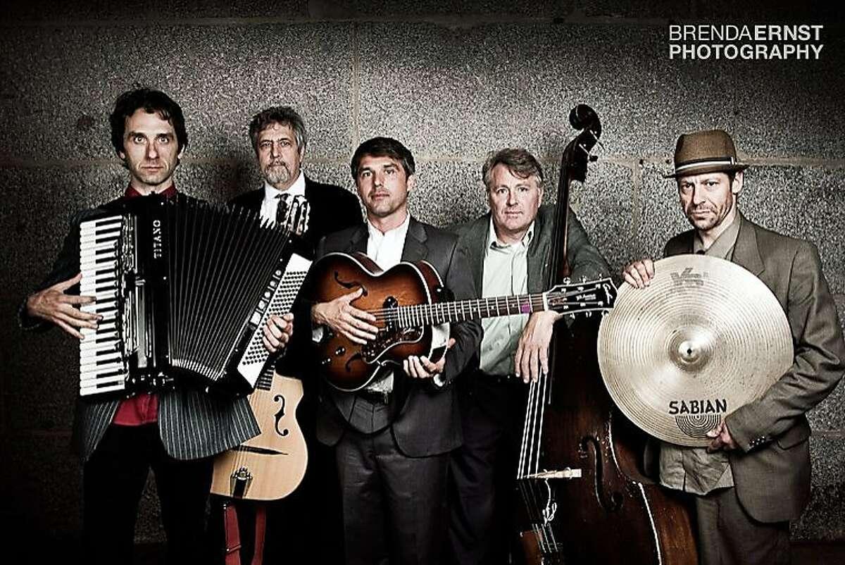 San Francisco's Gaucho Gypsy Jazz Band l to r: Rob Reich, Michael Groh, Dave Ricketts, Ari Munkres, Pete Devine