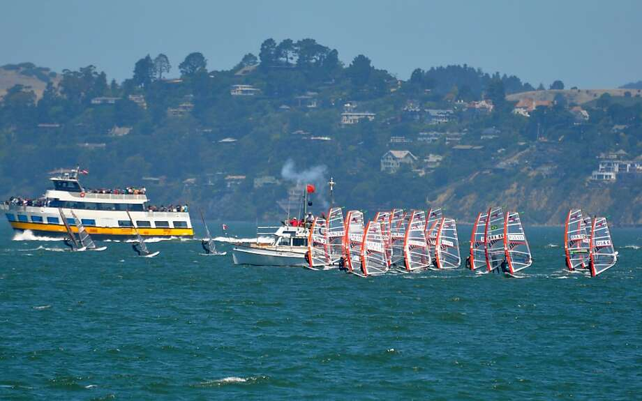 Youth windsurfers from 26 countries get the start gun on Day 1 of world championships held July 21-24. Photo: St. Francis Yacht Club