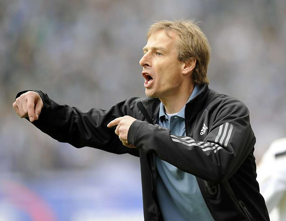 FILE - In this April 18, 2009 file phot, Bayern Munich's head coach Juergen Klinsmann directs his team during a German first division Bundesliga soccer match against Arminia Bielefeld in Bielefeld, Germany. U.S. Soccer moved quickly to name a replacementfor fired coach Bob Bradley, announcing Klinsmann's hiring Friday, July 29, 2011. Photo: Martin Meissner, AP