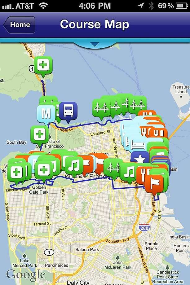 Screenshot of the San Francisco Maraton mobile ap. Photo: Benny Evangelista, The Chronicle