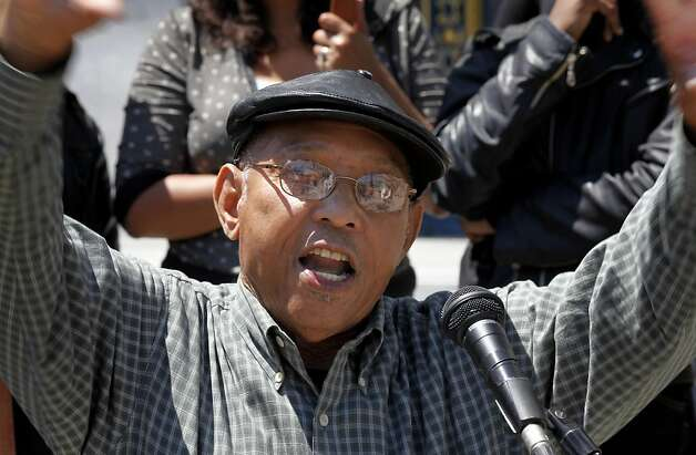 Willie Ratcliff, 78, urged the crowd to bring more services to the Bayview. Youth organizers from San Francisco's Bayview District held a press conference on the steps of City Hall Thursday July 28, 2011 to discuss police brutality and the Kenneth Harding shooting. Photo: Brant Ward, The Chronicle