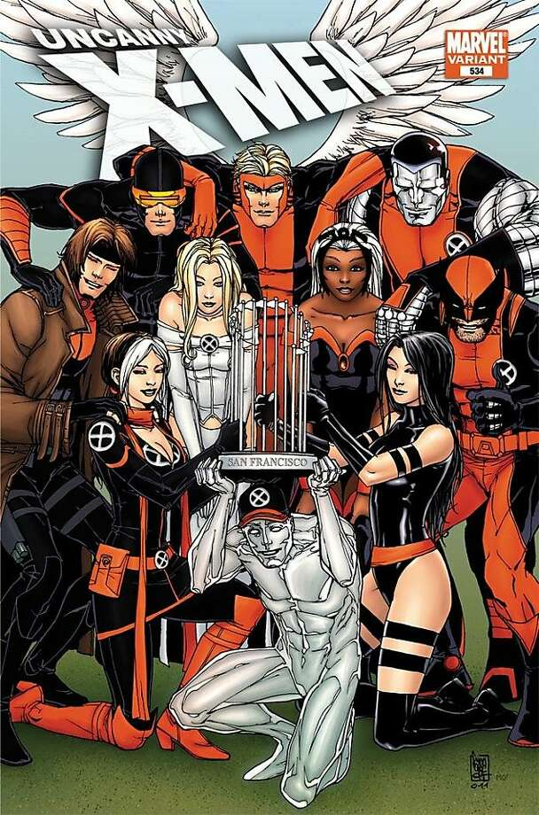 The Uncanny X-Men, comic book characters who are currently residing in San Francisco, celebrate the Giants win. This is the cover for a special edition comic at WonderCon. Photo: Courtesy Marvel Comics