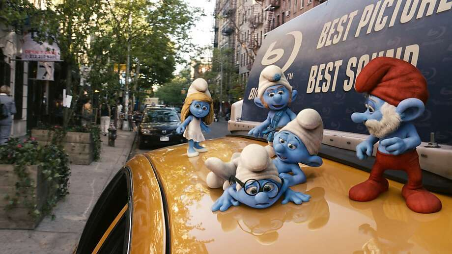 Smurfette, Gutsy, Clumsy, Brainy and Papa Smurfs in Columbia PIctures' THE SMURFS. Photo: Courtesy Of Sony Pictures Animat