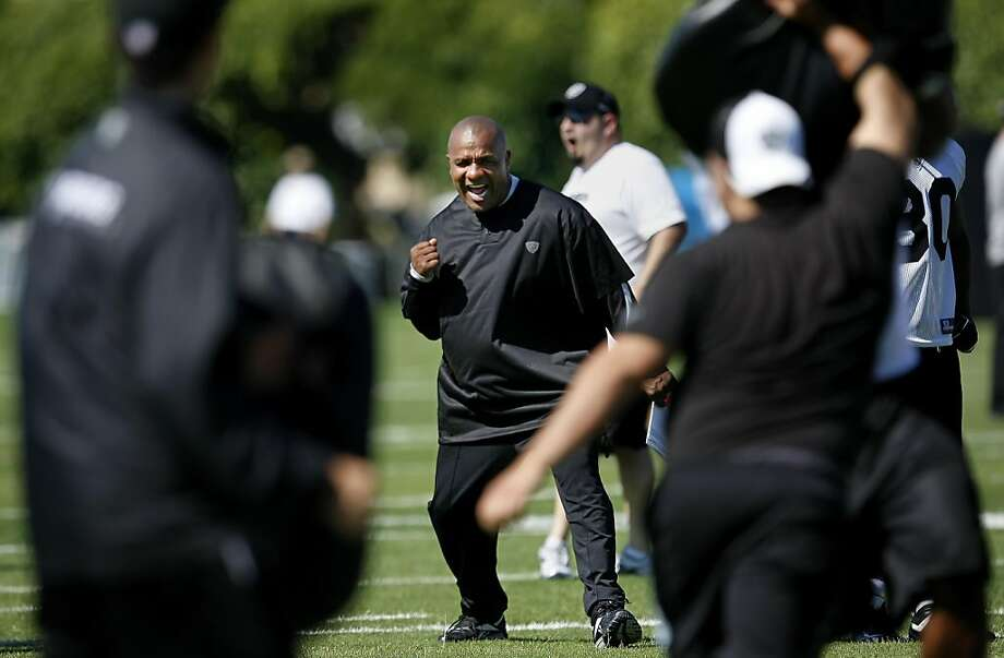 The Oakland Raiders head coach Hue Jackson gets a look at his new team at the Raiders Training Camp,  Thursday July 28, 2011, at the Napa Valley Marriott in Napa, Calif. Photo: Lacy Atkins, The Chronicle