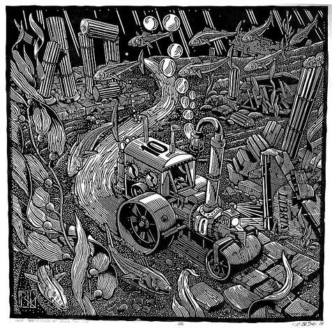 """Steamroller Goes Under the Sea"" (2006) linocut printed with steamroller by Rik Olson   36"" x 36"" Photo: Unknown, Meridian Gallery, S.f."