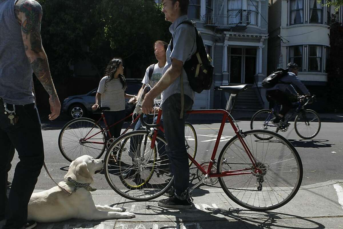 Serena Chang, Kevin Dempsey, and Charlie Dignan stop for a moment on the Wiggle route to talk to Bill Conway and his dog Daisey in San Francisco Calif., on July 27, 2011.