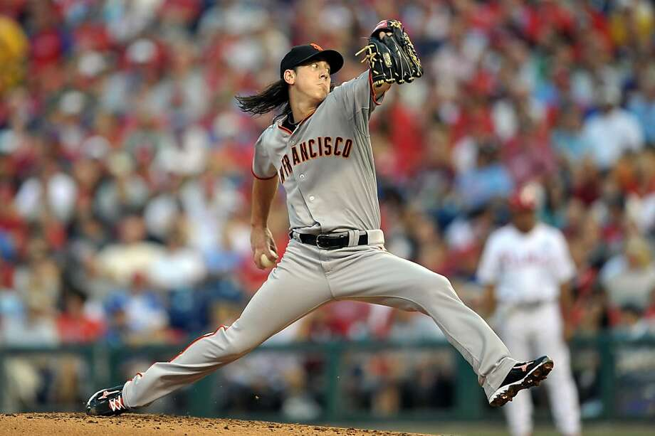 PHILADELPHIA, PA - JULY 28: Starting pitcher Tim Lincecum #55 of the San Francisco Giants delivers a pitch during the game against the Philadelphia Phillies at Citizens Bank Park on July 28, 2011 in Philadelphia, Pennsylvania. Photo: Drew Hallowell, Getty Images
