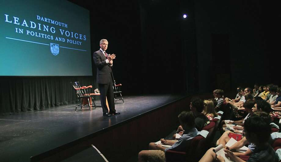 Republican presidential candidate, former Utah Gov. Jon Huntsman, Jr., gestures while speaking during a lecture series Leading Voices in Politics and Policy at Dartmouth College, Tuesday, July 26, 2011, in Hanover, N.H. Photo: Jim Cole, AP