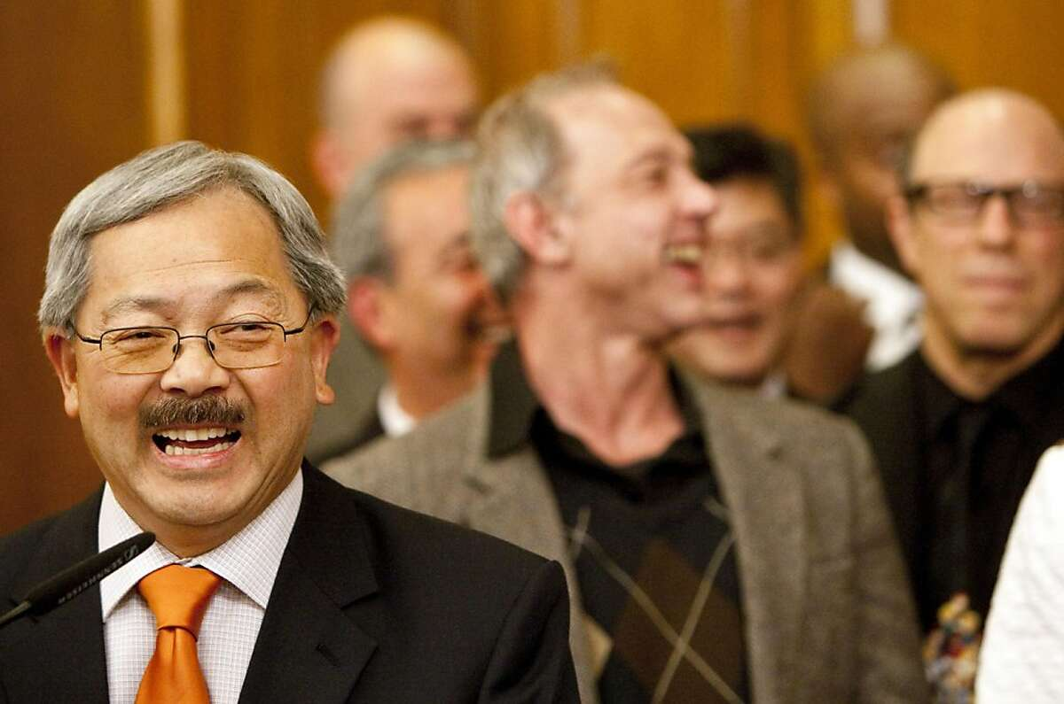 San Francisco Mayor Ed Lee speaks during a ceremony to sign San Francisco's budget for the 2011 to 2012 fiscal year after it was unanimously approved by the Board of Supervisors at City Hall in San Francisco, Calif., on Tuesday, July 26, 2011.