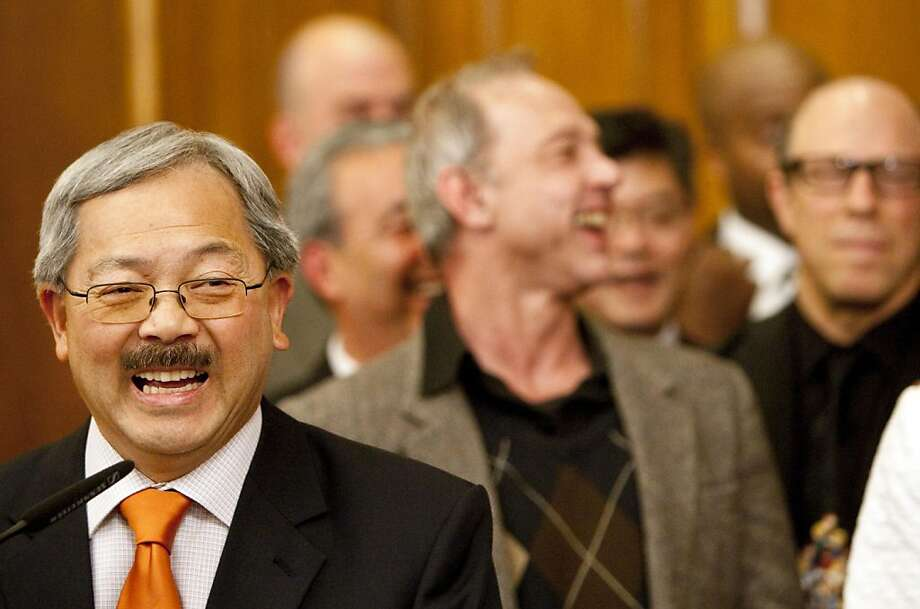 San Francisco Mayor Ed Lee speaks during a ceremony to sign San Francisco's budget for the 2011 to 2012 fiscal year after it was unanimously approved by the Board of Supervisors at City Hall in San Francisco, Calif., on Tuesday, July 26, 2011. Photo: Laura Morton, Special To The Chronicle