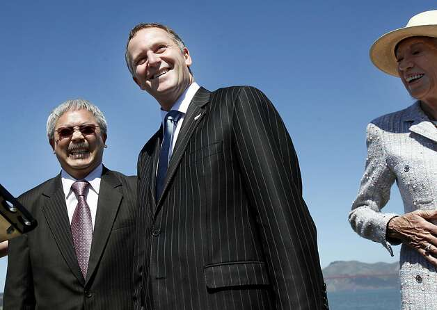 San Francisco Mayor Ed Lee (left) and Prime Minister John Key (center) laugh at a question by a reporter as city chief of protocol  Charlotte Shultz is at right. San Francisco Mayor Ed Lee welcomed the Prime Minister of New Zealand to San Francisco Wednesday July 20, 2011.  The two discussed the recent earthquakes in New Zealand and America's Cup. Photo: Brant Ward, The Chronicle