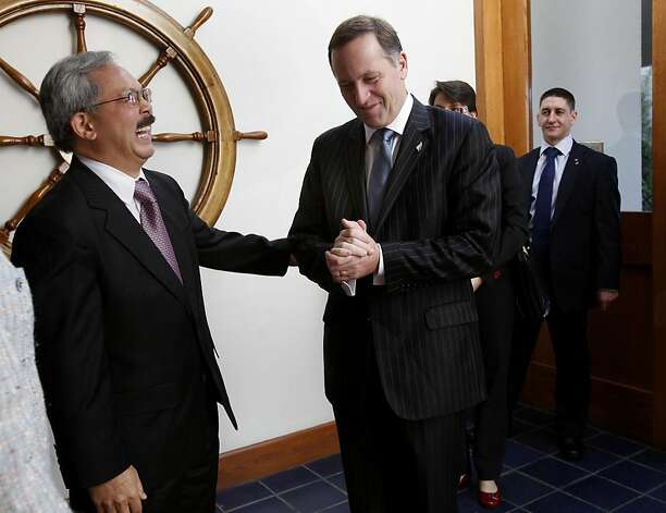 San Francisco Mayor Ed Lee (left) greets Prime Minister John Key at the St. Francis Yacht Club. San Francisco Mayor Ed Lee welcomed the Prime Minister of New Zealand to San Francisco Wednesday July 20, 2011.  The two discussed the recent earthquakes in New Zealand and America's Cup. Photo: Brant Ward, The Chronicle