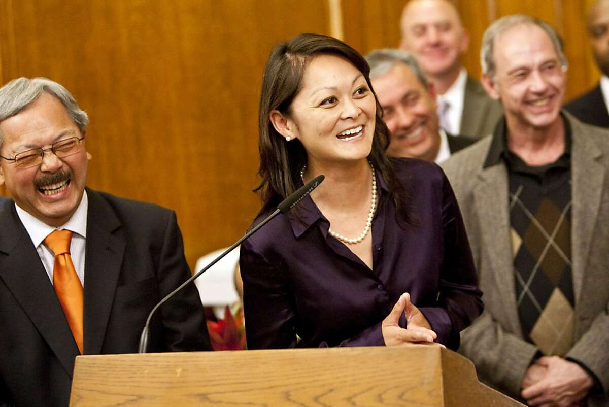 San Francisco Supervisor Carmen Chu, Chair of the Board's Budget and Finance Committee, speaks during a ceremony where Mayor Ed Lee signed the budget for the 2011 to 2012 fiscal year at City Hall in San Francisco, Calif., on Tuesday, July 26, 2011. The budget was unanimously approved by the Board of Supervisors.