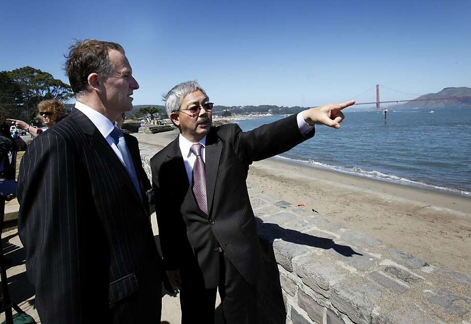 Mayor Ed Lee (right) and Prime Minister John Key talked about the America's Cup near the St. Francis Yacht Club. San Francisco Mayor Ed Lee welcomed the Prime Minister of New Zealand to San Francisco Wednesday July 20, 2011.  The two discussed the recent earthquakes in New Zealand and America's Cup. Photo: Brant Ward, The Chronicle