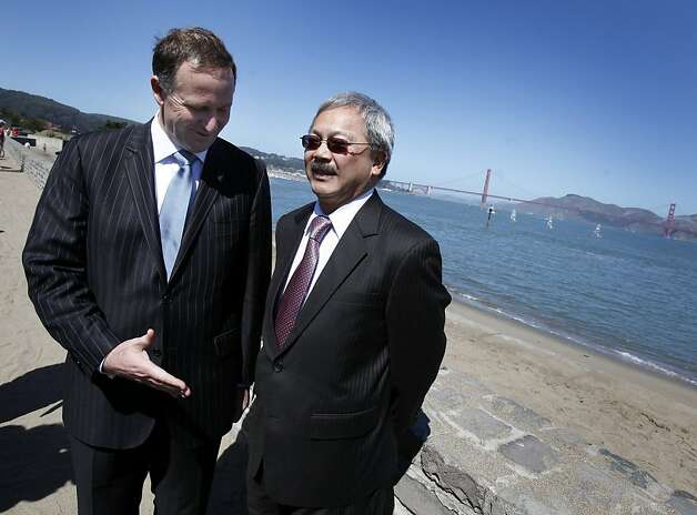 Prime Minister John Key (left) extended his hand to San Francisco Mayor Ed Lee after the briefing. San Francisco Mayor Ed Lee welcomed the Prime Minister of New Zealand to San Francisco Wednesday July 20, 2011.  The two discussed the recent earthquakes in New Zealand and America's Cup. Photo: Brant Ward, The Chronicle
