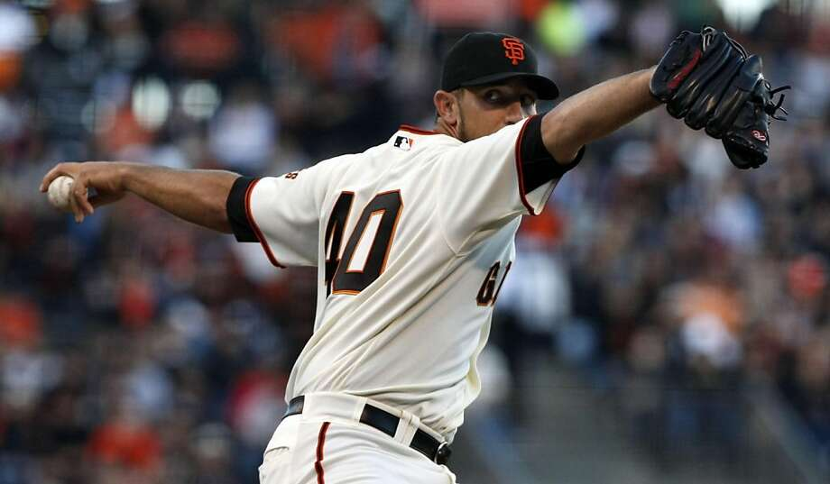 San Francisco Giants starting Madison Bumgarner delivers a pitch to the Los Angeles Dodgers during the first inning of a baseball game, Tuesday, July 19, 2011, in San Francisco. Photo: Lance Iversen, The Chronicle