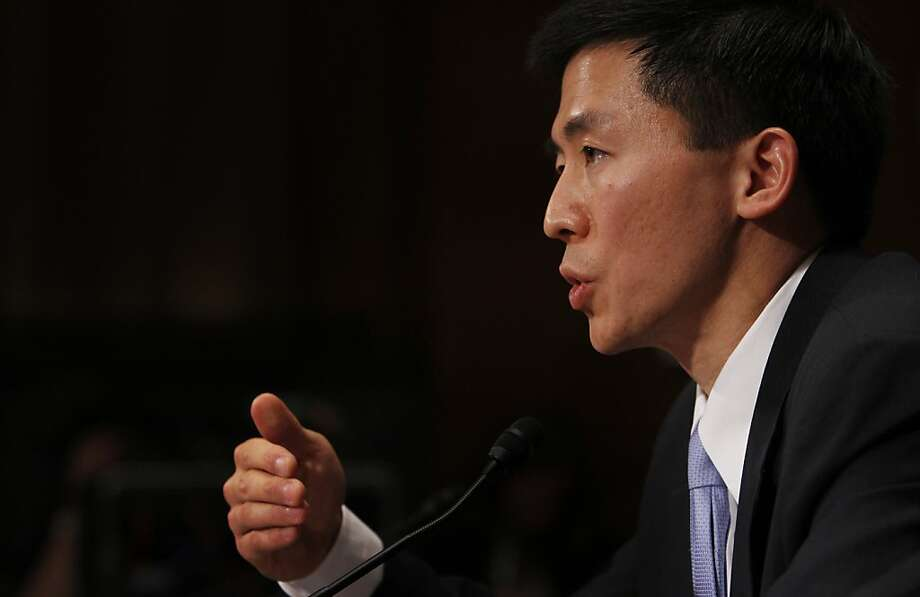 California law professor Goodwin Liu, testifies on Capitol Hill in Washington, Friday, April 16, 2010, before the Senate Judiciary Committee hearing on his nomination to be US Circuit Judge for the Ninth Circuit. (AP Photo/Charles Dharapak) Photo: Charles Dharapak, Associated Press