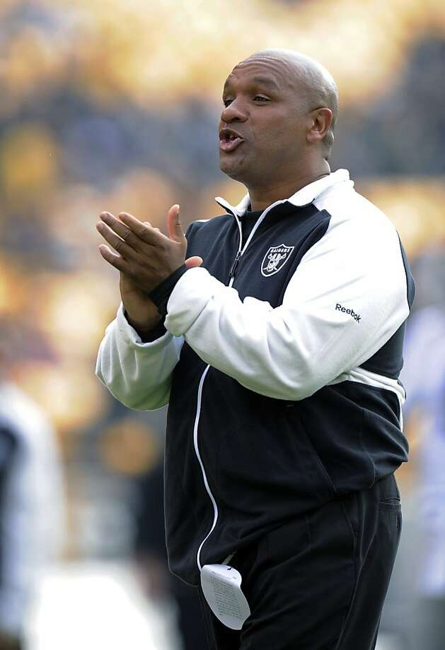 IN this Nov. 21, 2010, photo, Oakland Raiders offensive coordinator Hue Jackson watches warmups for the Raiders' NFL football game against the Pittsburgh Steelers in Pittsburgh. The San Francisco 49ers were given permission Tuesday, Jan. 4, 2011, to talkto Jackson about their head coach opening. Raiders senior executive John Herrera confirmed the request. Photo: Don Wright, AP
