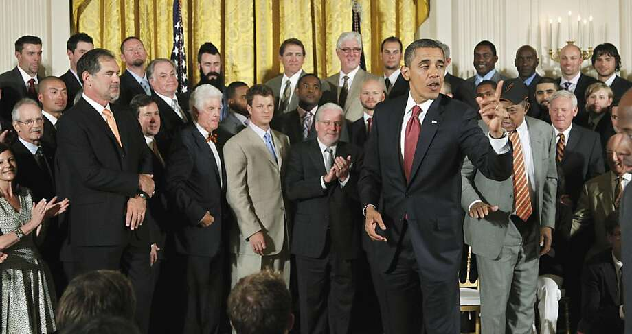 President Barack Obama speaks to the invited guests in the East Room of the White House in Washington, Monday, July 25, 2011, during a ceremony where he honored the 2010 World Series baseball champions San Francisco Giants. Photo: Manuel Balce Ceneta, AP