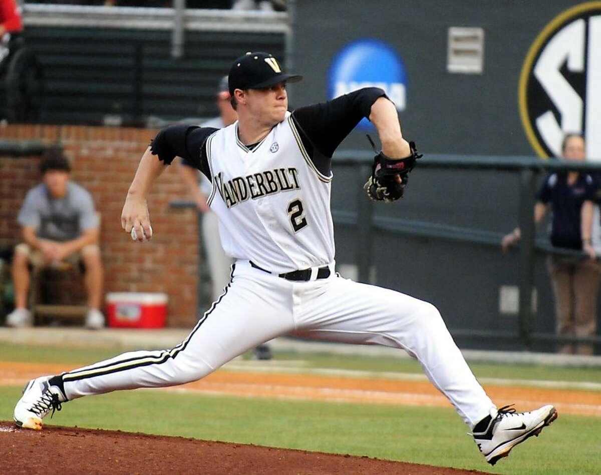 Vanderbilt's pitcher Sonny Gray throws during an NCAA college regional baseball tournament game against Belmont on Friday, June 3, 2011, in Nashville, Tenn.