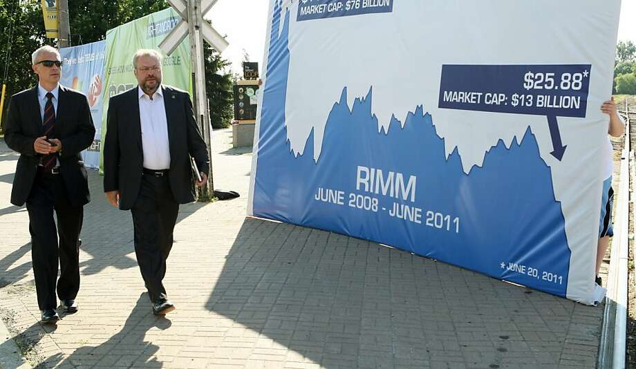 FILE - In this July 12, 2011 file photo, shareholders walk past protest signs outside the Research in Motion annual meeting in Waterloo, Ontario. BlackBerry maker Research In Motion is cutting 2,000 jobs as part of a cost savings plan announced last monthand is shuffling some senior executives. Photo: Dave Chidley, AP