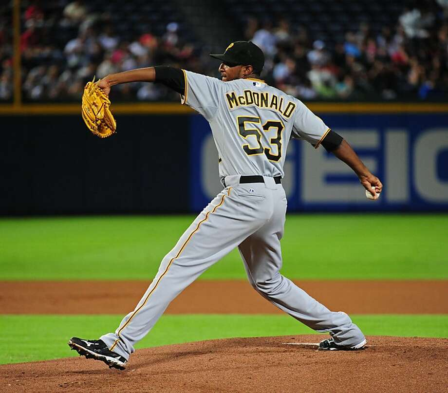 ATLANTA - JULY 25: James McDonald #53 of the Pittsburgh Pirates pitches against the Atlanta Braves at Turner Field on July 25, 2011 in Atlanta, Georgia. Photo: Scott Cunningham, Getty Images