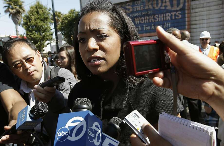 District 10 Supervisor, Malia Cohen, is surrounded by reporters, on Friday July 22, 2011, in San Francisco, Ca., as she is questioned about recent shootings in the Bayview neighborhood. African American's are losing political power in San Francisco due to the shrinking population. Cohen in the lone African American on the Board of Supervisors in San Francisco. Photo: Michael Macor, The Chronicle