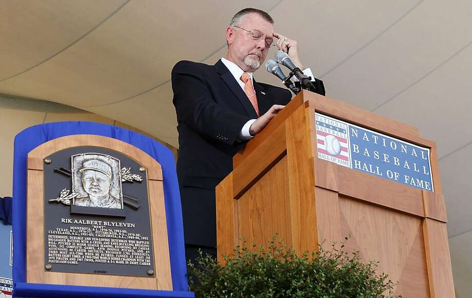 COOPERSTOWN, NY - JULY 24:  Bert Blyleven gives his speech at Clark Sports Center during the Baseball Hall of Fame induction ceremony on July 24, 2011 in Cooperstown, New York. Blyleven finished his 22 season career with 3,701 strikeouts (fifth on the all-time list) and 287 wins including 60 shutouts and 242 complete games. Photo: Jim McIsaac, Getty Images