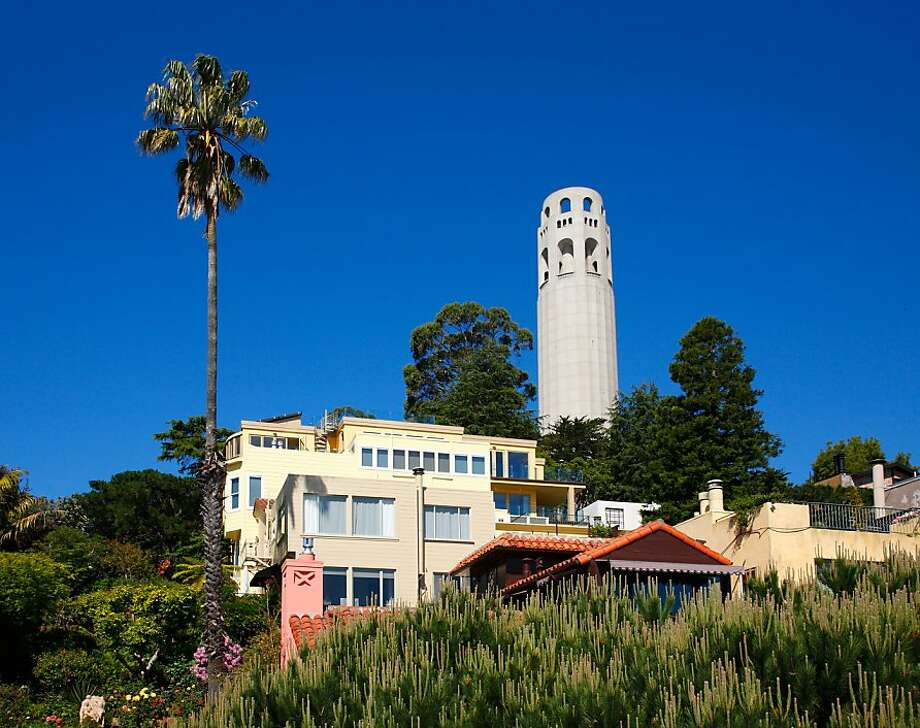 The home?s western terrace looks out at the Coit Tower, located a block away in Pioneer Park. Photo: Jacob Elliott
