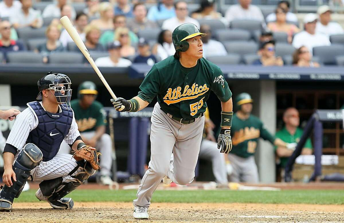 Hideki Matsui #55 of the Oakland Athletics follows through on a seventh inning home run against the New York Yankees on July 23, 2011 at Yankee Stadium in the Bronx borough of New York City.