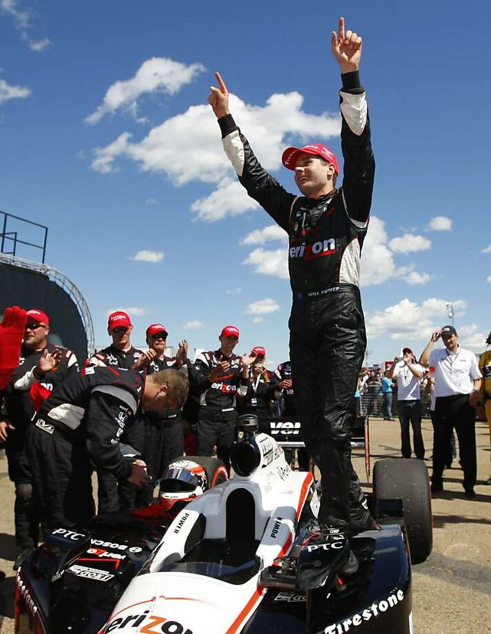 Australia's Will Power celebrates his victory in the IndyCar Series' Edmonton Indy auto race in Edmonton, Alberta, on Sunday, July 24, 2011. Photo: Jeff McIntosh, AP