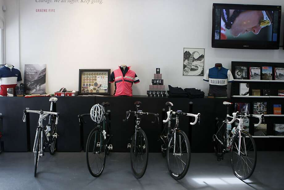 Cyclists who come into Rapha can park their bikes inside the store while they shop, have a cup of coffee, and watch coverage of different races in San Francisco Calif.,  on July 16, 2011. Photo: Audrey Whitmeyer-Weathers, The Chronicle