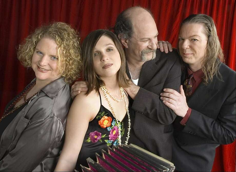 "The band Tango No. 9 celebrates the release of ""Live at the Columbarium"" with shows July 29 at Red Poppy Art House, Juoly 30 at St. Cyprian's Church in S.F. and July 31 at Chapel of the Chimes in Oakland. Pictured L to R: Catharine Clune, Isabel Douglass, Joshua Raoul Brody and Greg Stephens Photo: Anne Hamersky"