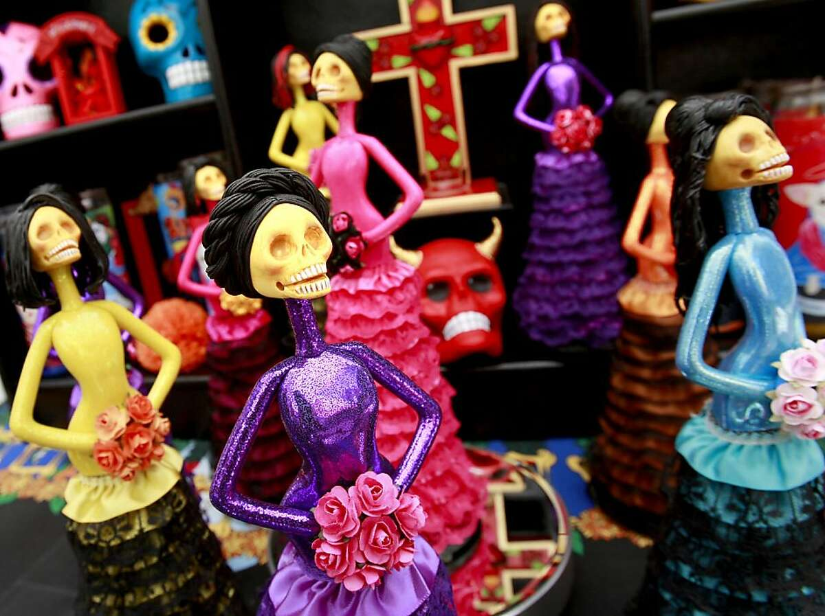 Figures by Carlos Villez for the day of the dead cermonies. The annual El Dia De Los Muertos celebration took place Sunday November 1, 2009 on International Blvd. between Fruitvale and 35th Avenues in Oakland, CA.