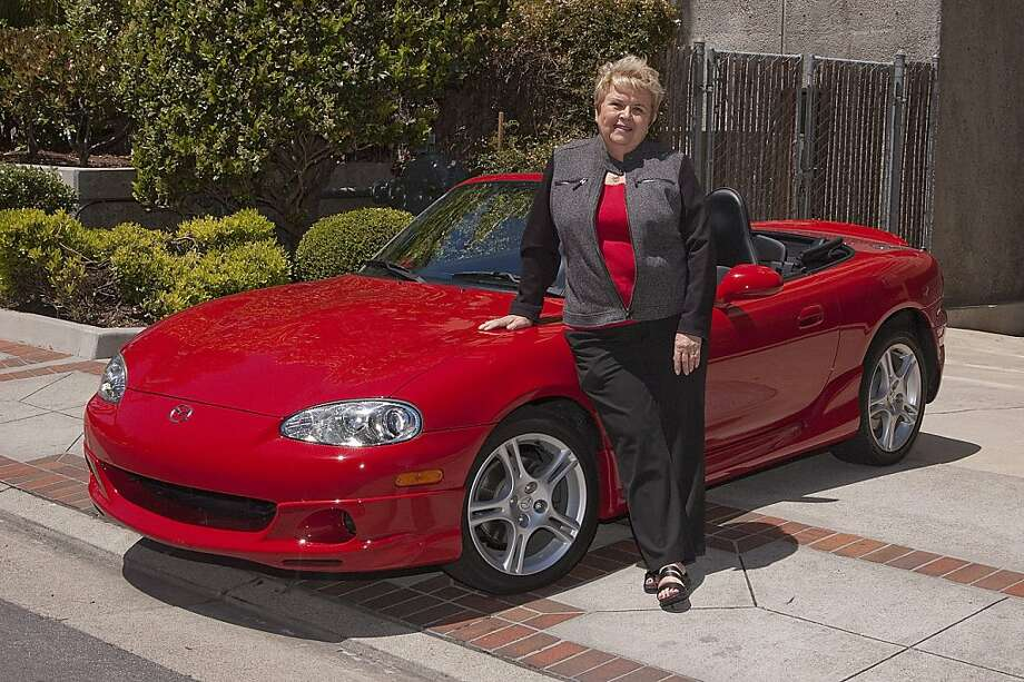 Photos of pat Bradley and her 2004 Mazda Miata MX5 photographed near downtown San Mateo,  CA on May 12, 2011 Photo: Stephen Finerty