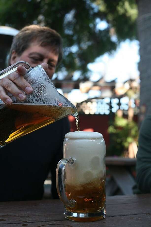 A real German fills our stein at Marvin Gardens in Belmont. Photo: Nellie Bowles, The San Francisco Chronicle
