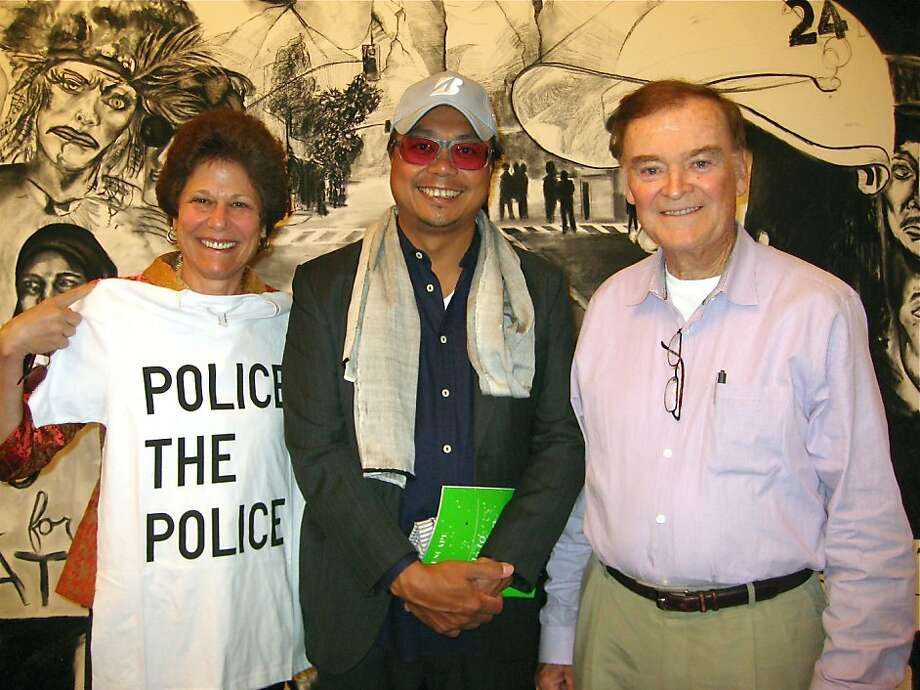 Wendy Paskin Jordan (left) with artist Rirkrit Tiravanija and her husband, former Mayor and Police Chief Frank Jordan at the Stonescape party in Calistoga. July 2011. By Catherine Bigelow. Photo: Catherine Bigelow, Special To The Chronicle