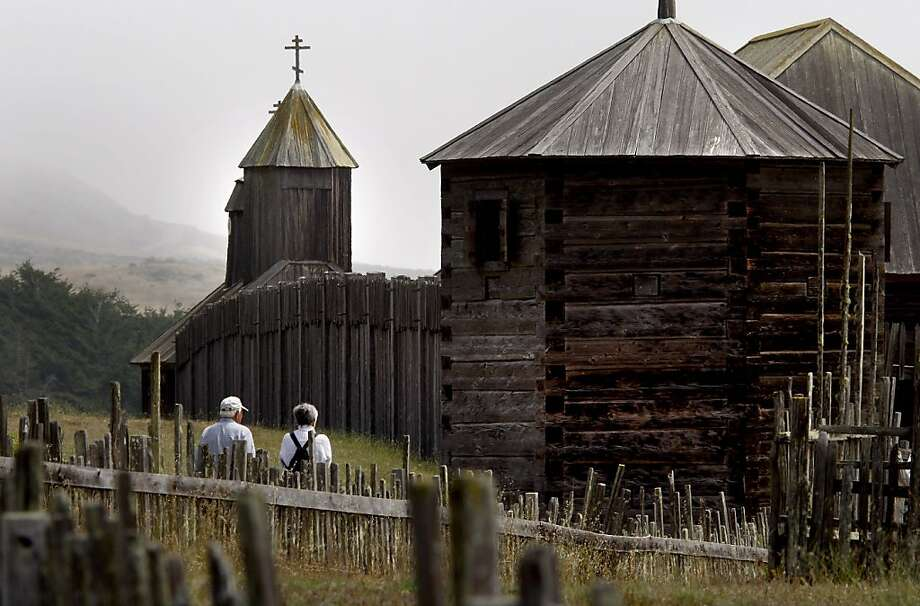 The fort is shaped like a square with a high redwood fence circling the chapel and buildings. Fort Ross, a state park on the coast of California, is slated for closing. The former Russian outpost is getting support from politicians and even the Russian government to keep it open to the public. Photo: Brant Ward, The Chronicle