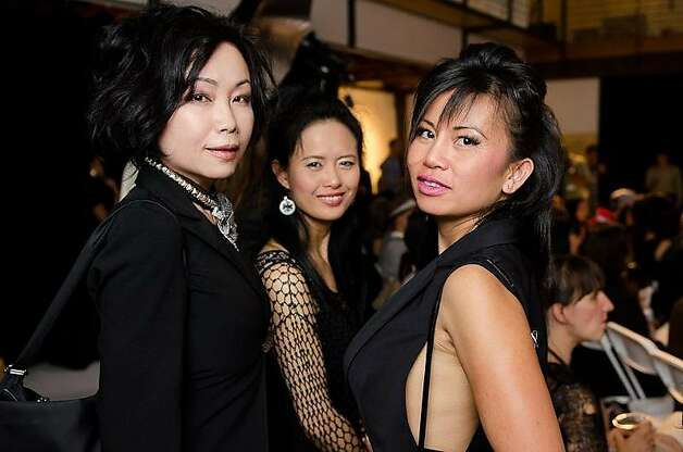 Monique Zhang (left), Jamie Huang and Thipalam Nonhprasith attended the second annual Pret-a-Porter fashion show at Madrone Studios, where local fashion designers showcased efriendly materials, global cultures and high-tech apparel. Photo: Shaun Tiansing