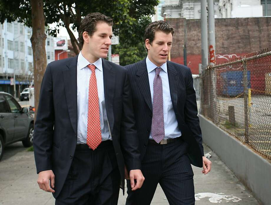 "(FILES) Photo dated January 11, 2011 shows Tyler (R) and Cameron (L) Winklevoss, founders of social networking website ConnectU, leaving the US Court of Appeals for the Ninth Circuit in San Francisco after attending a court hearing in a lawsuit against Facebook Inc. and its founder Mark Zuckerberg on in San Francisco. A US appeals court ruled on April 11, 2011 that the Winklevoss twins can't back out of the settlement deal they made in a lawsuit charging that Zuckerberg stole their idea for Facebook. ""TheWinklevosses are not the first parties bested by a competitor who then seek to gain through litigation what they were unable to achieve in the marketplace,"" the 9th US Circuit Court of Appeals said. ""At some point, litigation must come to an end,"" the Photo: Kimihiro Hoshino, AFP/Getty Images"
