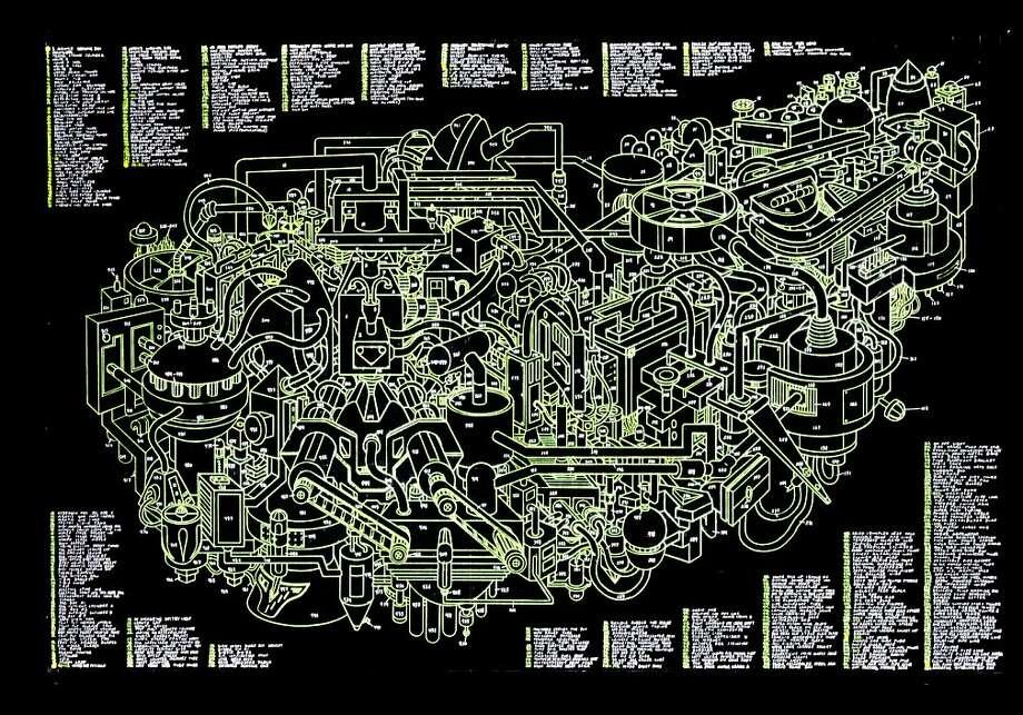 """Praying Mantis Machine"" (2011) Duratrans print with lightbox by Justin Amrhein Photo: Unknown, Michael Rosenthal Gallery, S.f."