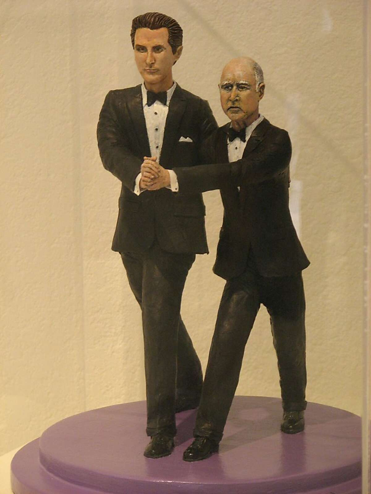 An art work at the California Exposition and State Fair in Sacramento shows Gov. Jerry Brown doing the tango with Lt. Gov. Gavin Newsom.