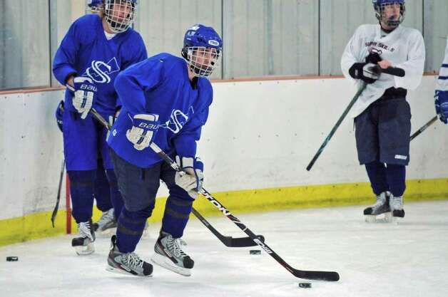Saratoga Springs High School hockey player Alex Luse practices on Tuesday Dec. 6, 2011 in Saratoga Springs, NY.  (Philip Kamrass / Times Union ) Photo: Philip Kamrass / 00015660A