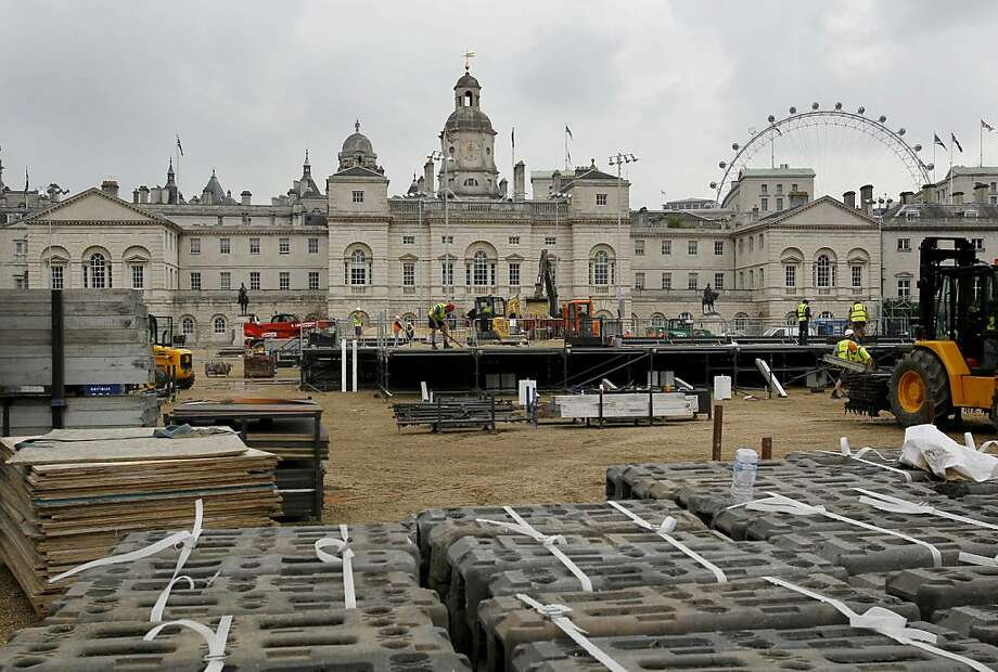The construction site for the London 2012 olympic beach volleyball venue is seen in Horse Guards Parade in London, Thursday, July 21, 2011. The test event for the beach volleyball will take place in August. Photo: Kirsty Wigglesworth, AP